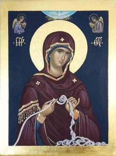 Our Lady Untier of Knots Byzantine Icons, Byzantine Art, Blessed Mother Mary, Blessed Virgin Mary, Religious Icons, Religious Art, Church Icon, Roman Church, Russian Icons