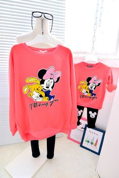 QZZ189 New Autumn Winter cute mickey 1 7Y kids family matching clothes mother daughter thick warm family look t shirts outfits