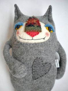 Stuffed Animal Cat from Wool Sweater Felted by sweetpoppycat