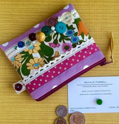 Vintage Floral Print and Button Coin Purse by nataliefarrell