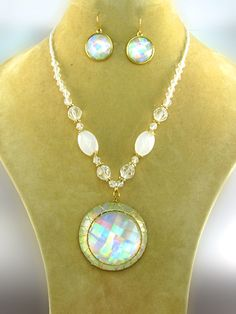 Necklace set with white stones and large pendant with large white stone with matching earrings. Nickel and Lead Free. $19.95 shipped! We accept PayPal!