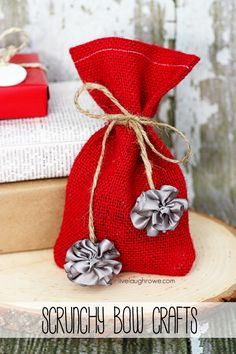 Create scrunchy bows for holiday gifts and ornaments using @bowdabra from @Live Laugh Rowe!