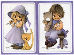 Satz von zwei Vintage Postkarten 70er Jahre von CuteEyeCatchers