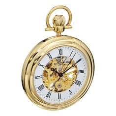 The Vintage is one of the latest pocket watches to join Stuhrling Original's Special Reserve Collection. The skeleton dial is cut away to reveal the elegant mechanical movement. Case: Gold tone Caseba