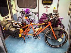 Loaded cargo bikes.