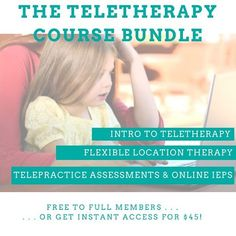 Teletherapy can be stressful for SLPs who are accustomed to in-person therapy ... But it doesn't have to be so hard! Our Teletherapy Bundle contains our top three courses for speech and language professionals who want to learn more about teletherapy basics, how to run teletherapy sessions, and creating a flexible therapy practice to switch between virtual and traditional learning. Speech Therapy Activities, Speech Language Pathology, Speech And Language, Iep Meetings, Receptive Language, Continuing Education, Traditional, Learning, Middle School