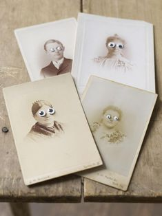 Hack some antique photos or portrait postcards with googly eyes, courtesy of Sweet Paul. Retro Halloween, Halloween Week, Halloween Crafts For Kids, Halloween Cards, Holidays Halloween, Happy Halloween, Halloween Decorations, Halloween Photos, Funny Halloween