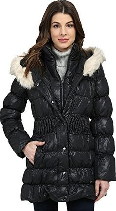 Via Spiga Womens Down Coat w Winter White Faux Fur Trim Black Outerwear SM >>> You can get more details by clicking on the image.