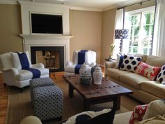 blue and white living room refresh!