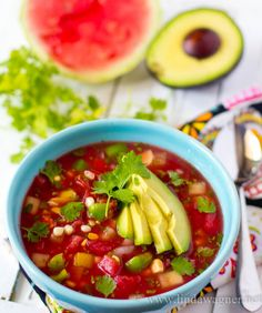 Watermelon Gazpacho Recipe for Weight Loss via Linda Wagner #healthy #vegan #weightloss