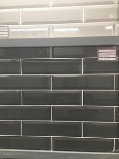 Black glossed subway tiles Subway Tiles, Tile Floor, Flooring, Bathroom, Black, Washroom, Black People, Full Bath, Subway Tile