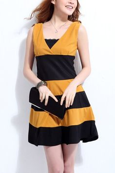 Princess V-neckline Tranverse Stripes Printing Dress  $30.00
