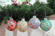 Glass Christmas baubles Liberty of London set of 4