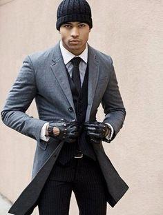 Men's Grey Overcoat, Black Vertical Striped Three Piece Suit, White Dress Shirt, Black Beanie