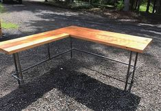 L-shaped Desk. Black iron pipe L-shaped desk. Old desk. Reclaimed Wood Desk, Rustic Desk, Industrial Desk, Rustic Wood, Old Desks, L Shaped Desk, Space Interiors, Iron Pipe, Diy Desk