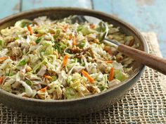 Crunchy Chicken Salad. This Crunchy Chicken Salad is one of our most loved, most-pinned recipes of all time! Ingredients: butter, oriental-flavor ramen noodle soup mix, sesame seed, sugar, white vinegar, veg oil, pepper, chicken, peanuts, green onion, coleslaw mix