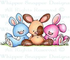 Floppy Bunny Trio - Rabbits - Animals - Rubber Stamps - Shop