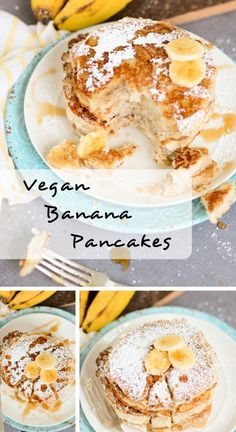 These mouthwatering vegan banana pancakes are light and fluffy, and topped with sticky sweet syrup, powdered sugar, and fresh bananas. You won't believe they cook up in less than 20 minutes! #vegetarian #vegan #glutenfree #dairyfree #breakfast via @deliciouseveryday