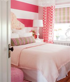 Kids' room, little girl bedroom, teen girl bedroom, striped wall, pink accents, Moroccan pouf