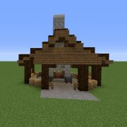 Asian Blacksmith - GrabCraft - Your number one source for MineCraft buildings, blueprints, tips, ideas, floorplans! Minecraft Roof, Minecraft Forge, Easy Minecraft Houses, Minecraft Plans, Minecraft House Designs, Minecraft Decorations, Amazing Minecraft, Minecraft Tutorial, Minecraft Blueprints