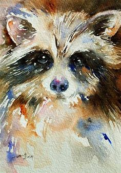 "Daily Paintworks - ""Mr Raccoon"" - Original Fine Art for Sale - © Arti Chauhan"