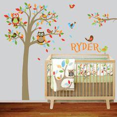 Custom Name Boys Nursery Tree and Branch Vinyl Wall Decal Owls Birds Custom Name. $110.00, via Etsy.