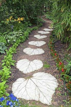 Fun garden pathway in the shape of leaves