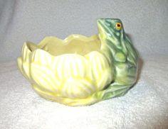 McCoy-Vintage-Green-Frog-Lotus-Lily-Planter-Pottery-Ceramic-3-H-X-4-75-L