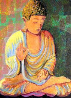 Sitting Buddha Art  Print 10 x 14 Buddha painting, Buddha in handmade, Spiritual Wall Art, Buddha wall decor, Buddha gift, Buddhist Art