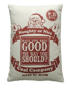 Love this 'Naughty or Nice' Linen Throw Pillow on #zulily! #zulilyfinds