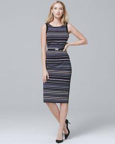 eaaaeb7b7ea Women's Petite Sleeveless Striped Sheath Dress by White House Black Market