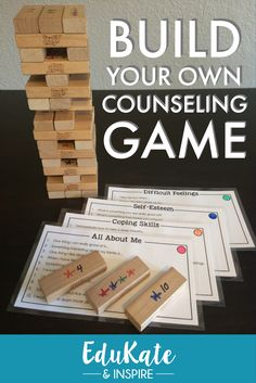 Build your own counseling Jenga game! This pack comes with 16 themed question cards that can be mixed and matched to create a new game every time you play! Topics include grief anger coping skills changing families self-esteem and more! Play Therapy Activities, Therapy Games, Counseling Activities, Therapy Tools, Therapy Ideas, Social Work Activities, Social Skills Games, Coping Skills Activities, Self Esteem Activities
