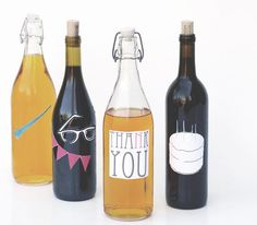 Cute idea for party-themed bottle stickers. Use Avery full-sheet labels for easy printing.