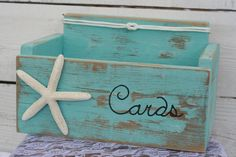Card Wedding Box Holder Distressed Beach by RobinsRomanticDesign