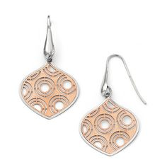 Leslie's SS Rhodium White & Rose Plated Earrings