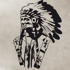 "Style and Apply American Indian Wall Decal Size: 33"" H x 24"" W, Color: Royal Blue"