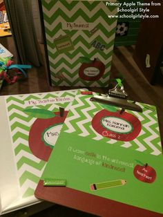 Apple Classroom Theme and Decor by Schoolgirl Style Classroom Organization crafts...teacher binder, clipboard, and journal www.schoolgirlstyle.com