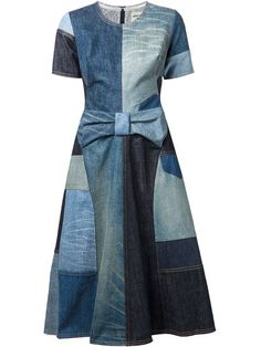 lyst junya watanabe patchwork denim dress in blue Patchwork Jeans, Patchwork Dress, Refaçonner Jean, Artisanats Denim, Denim Fashion, Fashion Outfits, Fashion Ideas, Jeans Refashion, Mode Jeans