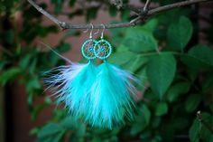 Fluffy Striped Aqua Dream Catcher Earrings by nZuriArtDesigns