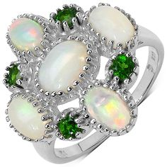 Ethiopian opal and chrome diopside ringSterling silver jewelryClick here for ring sizing guide