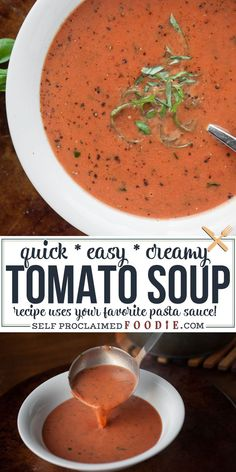 Quick And Easy Creamy Tomato Soup Can Be Made By Diluting Your Favorite Pasta Sauce And Adding Heavy Cream And Basil. The Secret Ingredient That Makes It So Easy Is Jarred Pasta Sauce It Doesnt Get Much Easier Than This. Tomato Soup Recipes, Easy Soup Recipes, Dinner Recipes, Cooking Recipes, Chowder Recipes, Chili Recipes, Sauce Recipes, Dinner Ideas, Easy One Pot Meals