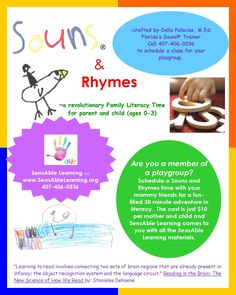 """""""A Revolutionary Family Literacy Time for parents and child (ages 0-3)""""  Call Della for more information at 407-406-0536 or visit SensAble Learning at www.sensablelearning.org"""