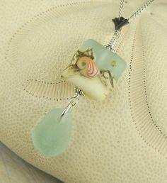 Shell Lampwork Bead And Genuine Aqua Sea Glass by seaglassgems4you, $45.00