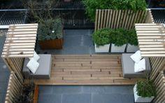 A compact rooftop terrace Rooftop Terrace, Terrace Garden, Garden Spaces, Outdoor Rooms, Outdoor Living, Outdoor Decor, Small Gardens, Outdoor Gardens, Rooftop Gardens