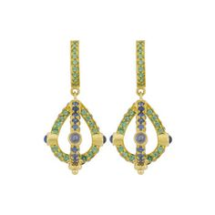 Betteridge: Temple St. Clair 18k Gold, Sapphire & Tsavorite Stupa Earrings