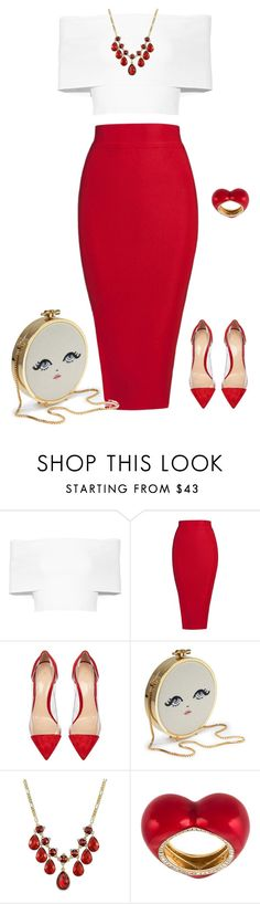 """outfit 4550"" by natalyag ❤ liked on Polyvore featuring Rosetta Getty, Posh Girl, Gianvito Rossi and Alison Lou"