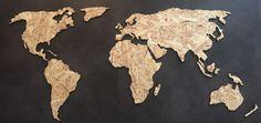 Wereldkaart ''Classy'' - Hout - OSB plaat - Formaat M | houten wereldkaart | muurdecoratie