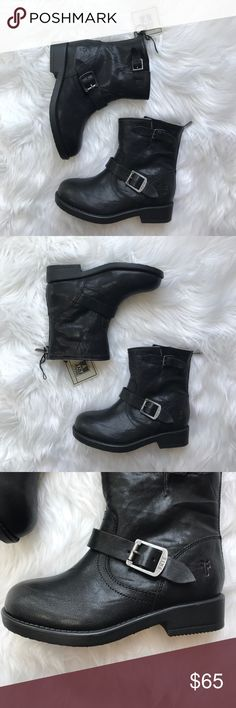 "• Frye • Girls Size 4 Black Lined Buckle Boots - Frye - New with Tag - Girls Black Boots - Size 4  - Soles: 8.75"" Frye Shoes Boots"