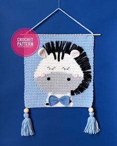 Crochet Wall Hangings, Tapestry Crochet, Crochet Bunny, Crochet For Kids, Zebra Nursery, Baby Room Diy, Diy Baby, Room Tapestry, Kit Bebe
