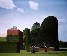 The Badminton Game contemporary British Limited Edition Prints. View all David Inshaw art and British artwork at Red Rag art gallery. Badminton Games, Tate Gallery, Sense Of Place, Limited Edition Prints, Les Oeuvres, Landscape Paintings, Landscape Art, Nature, Illustration Art